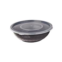 Ciotola rotonda PP nero con coperchio trasparente 750ml Ø173mm  H55mm