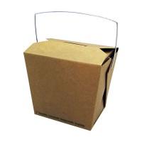 Scatola quadrata in cartone kraft biodegradabile, con manico 750ml 100x92mm H104mm