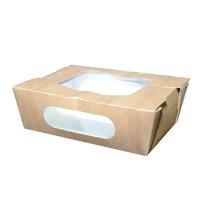 Scatola per insalata in cartone kraft, con doppia finestra 900ml 166x118mm H50mm