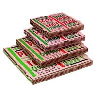 """Scatola da pizza in cartone scuro con decorazione """"Una buona pizza""""  260x260mm H35mm"""