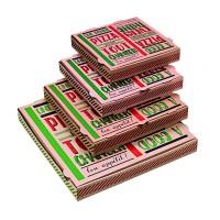 """Scatola da pizza in cartone scuro con decorazione """"Una buona pizza""""  400x400mm H35mm"""