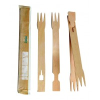 Easy wooden fork-chopsticks wrapped by pair   H180mm