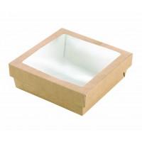 """Scatola """"Kray"""" quadrata in cartone scuro, con coperchio a finestra 700ml 155x155mm H50mm"""